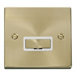 Click Deco Victorian Satin Brass 13A Fused Ingot Connection Unit with White Insert
