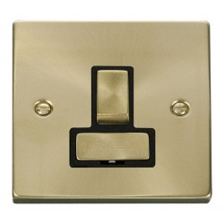 Click Deco Victorian Satin Brass 13A Fused Ingot Switched Connection Unit with Black Insert