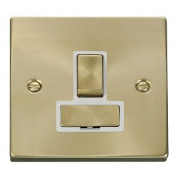 Click Deco Victorian Satin Brass 13A Fused Ingot Switched Connection Unit with White Insert