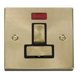 Click Deco Victorian Satin Brass 13A Fused Ingot Switched Connection Unit With Neon with Black Insert