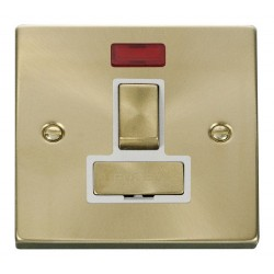 Click Deco Victorian Satin Brass 13A Fused Ingot Switched Connection Unit With Neon with White Insert