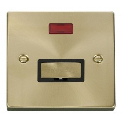 Click Deco Victorian Satin Brass 13A Fused Ingot Connection Unit With Neon with Black Insert