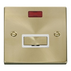 Click Deco Victorian Satin Brass 13A Fused Ingot Connection Unit With Neon with White Insert