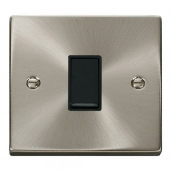 Click Deco Victorian Satin Chrome 1 Gang 2 Way 10AX Switch with Black Insert