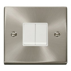 Click Deco Victorian Satin Chrome 2 Gang 2 Way 10AX Switch with White Insert