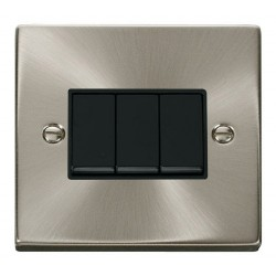 Click Deco Victorian Satin Chrome 3 Gang 2 Way 10AX Switch with Black Insert