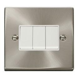 Click Deco Victorian Satin Chrome 3 Gang 2 Way 10AX Switch with White Insert