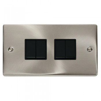 Click Deco Victorian Satin Chrome 4 Gang 2 Way 10AX Switch with Black Insert