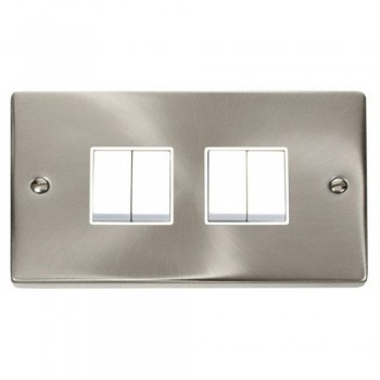 Click Deco Victorian Satin Chrome 4 Gang 2 Way 10AX Switch with White Insert
