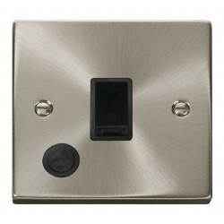 Click Deco Victorian Satin Chrome 20A 1 Gang Double Pole Switch With Flex Outlet with Black Insert