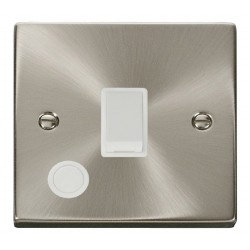 Click Deco Victorian Satin Chrome 20A 1 Gang Double Pole Switch With Flex Outlet with White Insert