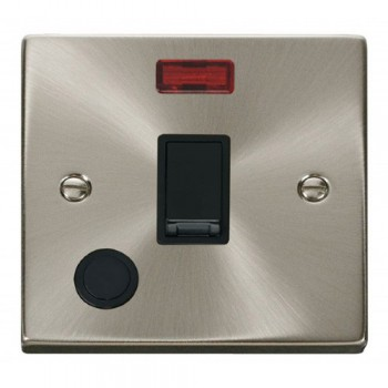 Click Deco Victorian Satin Chrome 20A 1 Gang Double Pole Switch With Flex Outlet And Neon with Black Insert