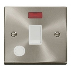 Click Deco Victorian Satin Chrome 20A 1 Gang Double Pole Switch With Flex Outlet And Neon with White Insert