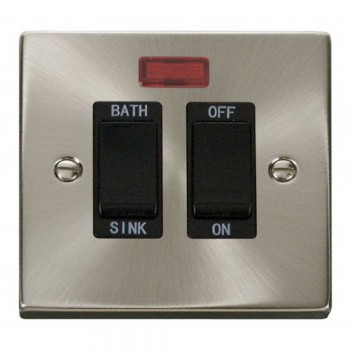 Click Deco Victorian Satin Chrome 20A Double Pole Sink/Bath Switch with Black Insert