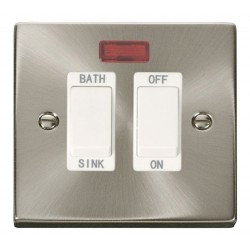 Click Deco Victorian Satin Chrome 20A Double Pole Sink/Bath Switch with White Insert