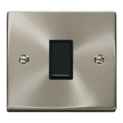 Click Deco Victorian Satin Chrome 1 Gang Intermediate 10AX Switch with Black Insert