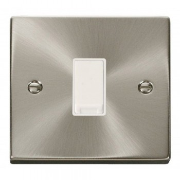 Click Deco Victorian Satin Chrome 1 Gang Intermediate 10AX Switch with White Insert