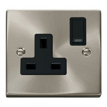 Click Deco Victorian Satin Chrome 1 Gang 13A Double Pole Switched Socket Outlet with Black Insert