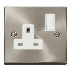 Click Deco Victorian Satin Chrome 1 Gang 13A Double Pole Switched Socket Outlet with White Insert