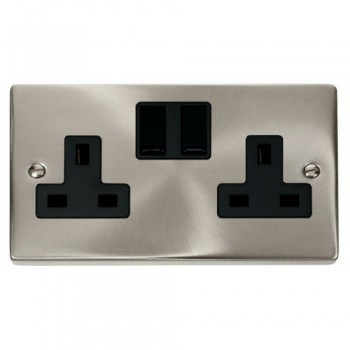 Click Deco Victorian Satin Chrome 2 Gang 13A Double Pole Switched Socket Outlet with Black Insert