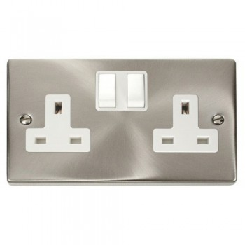 Click Deco Victorian Satin Chrome 2 Gang 13A Double Pole Switched Socket Outlet with White Insert