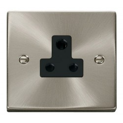 Click Deco Victorian Satin Chrome 5A Round Pin Socket Outlet with Black Insert