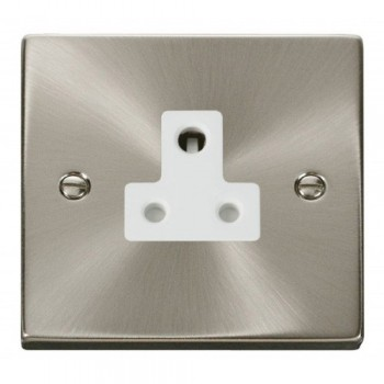 Click Deco Victorian Satin Chrome 5A Round Pin Socket Outlet with White Insert