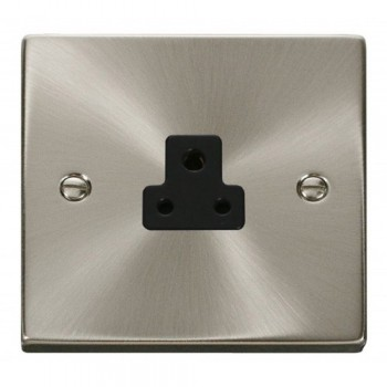 Click Deco Victorian Satin Chrome 2A Round Pin Socket Outlet with Black Insert