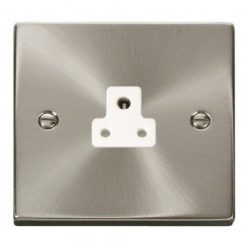 Click Deco Victorian Satin Chrome 2A Round Pin Socket Outlet with White Insert