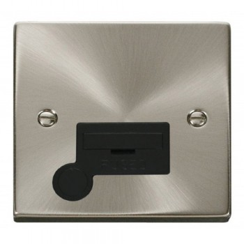 Click Deco Victorian Satin Chrome 13A Fused Connection Unit With Flex Outlet with Black Insert