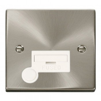 Click Deco Victorian Satin Chrome 13A Fused Connection Unit With Flex Outlet with White Insert