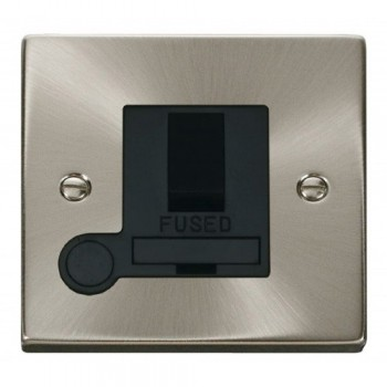 Click Deco Victorian Satin Chrome 13A Fused Switched Connection Unit With Flex Outlet with Black Insert