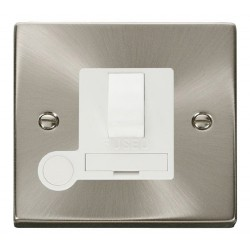 Click Deco Victorian Satin Chrome 13A Fused Switched Connection Unit With Flex Outlet with White Insert