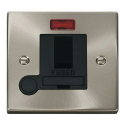 Click Deco Victorian Satin Chrome 13A Fused Switched Connection Unit With Flex Outlet with Neon with Blac...