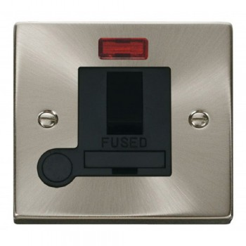 Click Deco Victorian Satin Chrome 13A Fused Switched Connection Unit With Flex Outlet with Neon with Black Insert