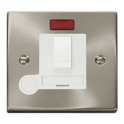 Click Deco Victorian Satin Chrome 13A Fused Switched Connection Unit With Flex Outlet with Neon with Whit...