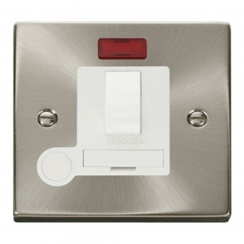 Click Deco Victorian Satin Chrome 13A Fused Switched Connection Unit With Flex Outlet with Neon with White Insert