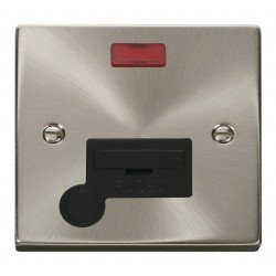 Click Deco Victorian Satin Chrome 13A Fused Connection Unit With Flex Outlet with Neon with Black Insert