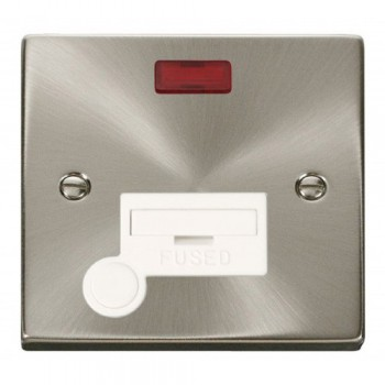 Click Deco Victorian Satin Chrome 13A Fused Connection Unit With Flex Outlet with Neon with White Insert