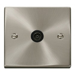 Click Deco Victorian Satin Chrome Single Coaxial Socket Outlet with Black Insert