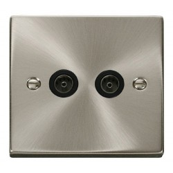 Click Deco Victorian Satin Chrome Twin Coaxial Socket Outlet with Black Insert