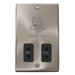 Click Deco Victorian Satin Chrome Dual Voltage Shaver Socket Outlet 115/230V with Black Insert