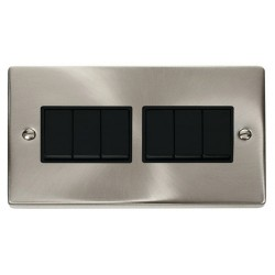 Click Deco Victorian Satin Chrome 6 Gang 2 Way 10AX Switch with Black Insert