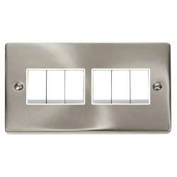 Click Deco Victorian Satin Chrome 6 Gang 2 Way 10AX Switch with White Insert