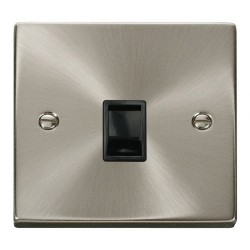 Click Deco Victorian Satin Chrome Single RJ11 Socket (Ireland/USA) with Black Insert