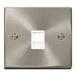 Click Deco Victorian Satin Chrome Single RJ11 Socket (Ireland/USA) with White Insert