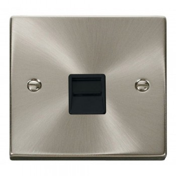 Click Deco Victorian Satin Chrome Single Telephone Socket Outlet Master with Black Insert