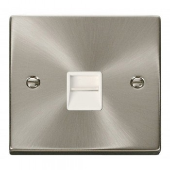 Click Deco Victorian Satin Chrome Single Telephone Socket Outlet Master with White Insert