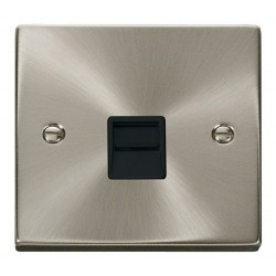 Click Deco Victorian Satin Chrome Single Telephone Socket Outlet Secondary with Black Insert