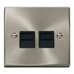 Click Deco Victorian Satin Chrome Twin Telephone Socket Outlet Secondary with Black Insert